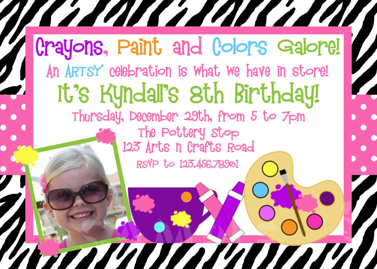 Free Arts And Crafts Birthday Party Invitations Download This