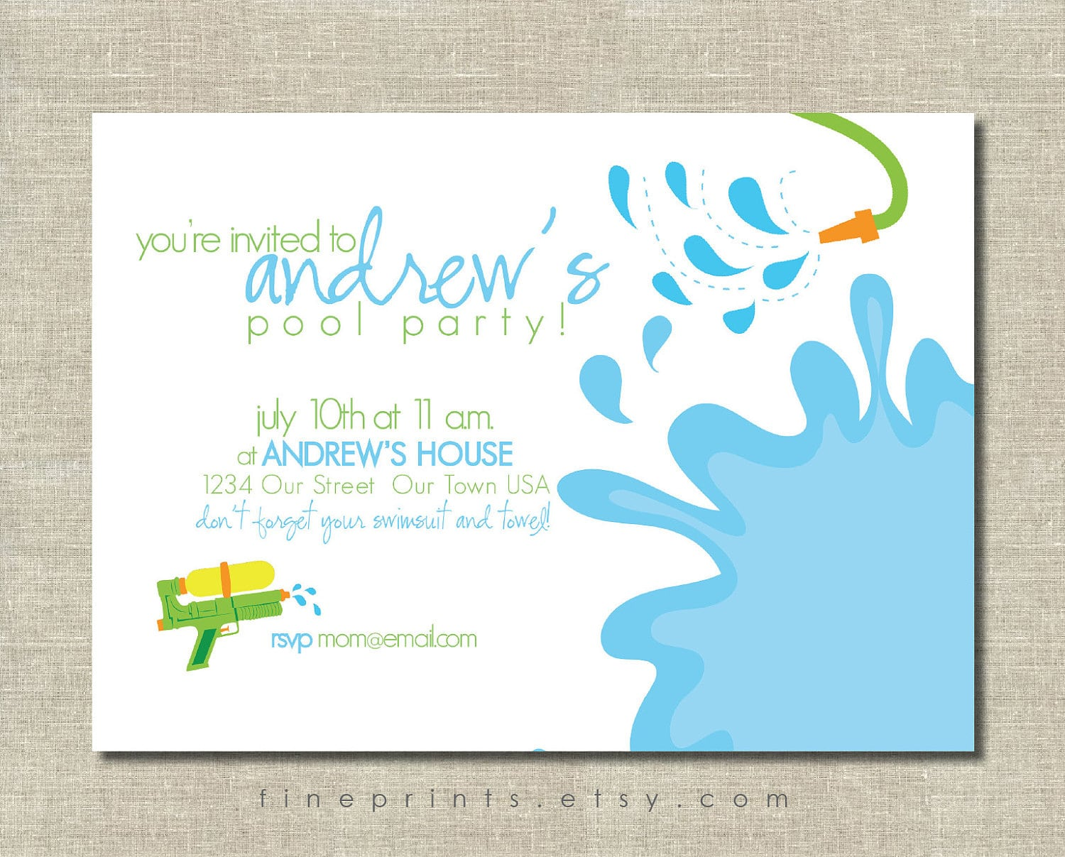 Free Pool Party Invitations Printable