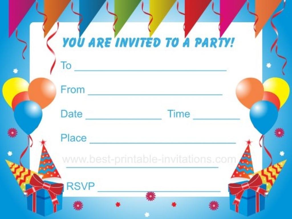 Free Printable Kids Birthday Party Invitations Templates Lasttest
