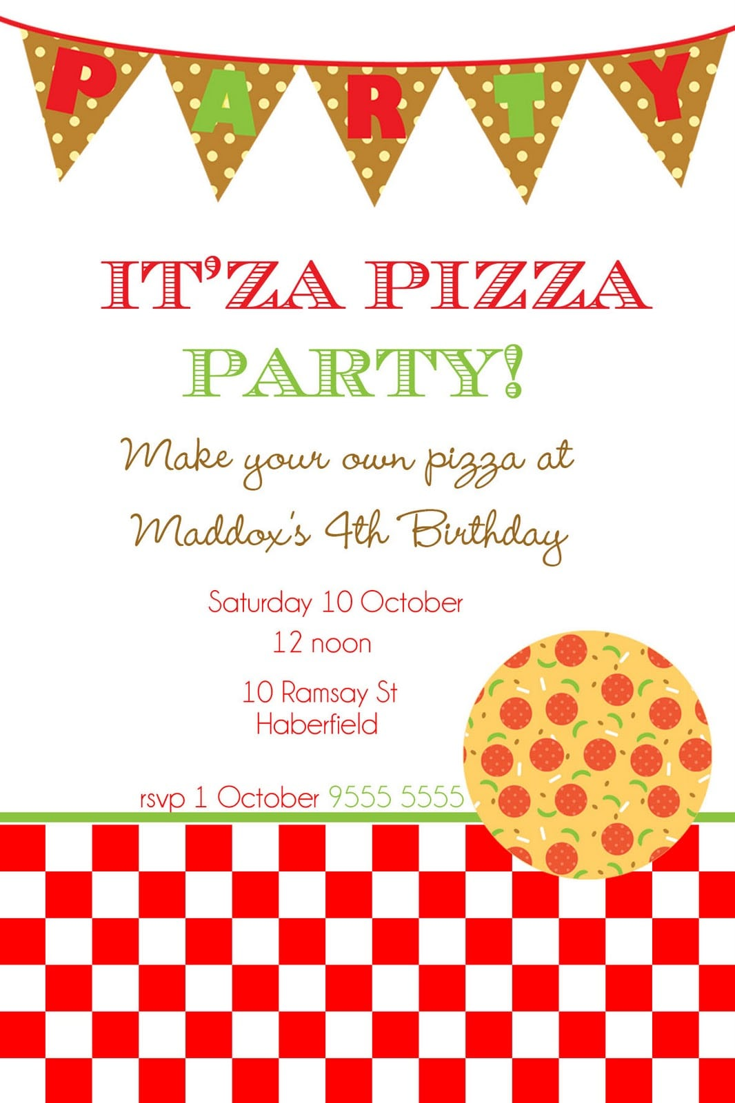 Free Printable Pizza Party Invitations