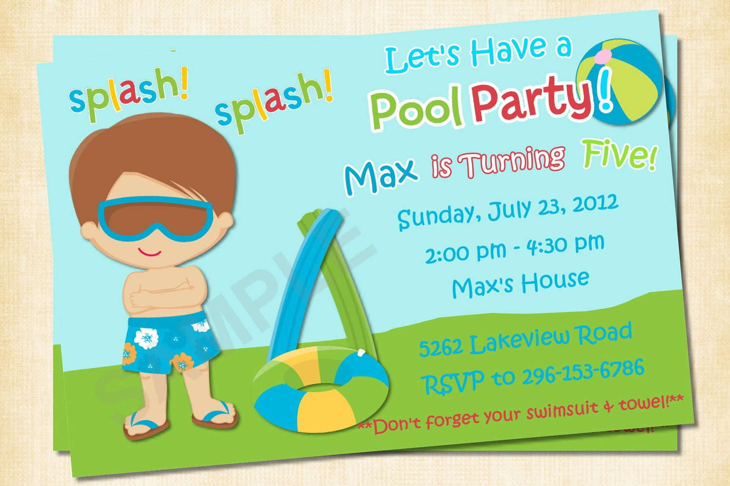 Free Printable Pool Party Invitation Templates
