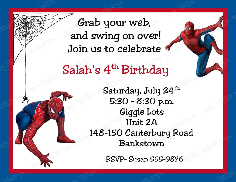 Free Printable Spiderman Birthday Invitation Cards