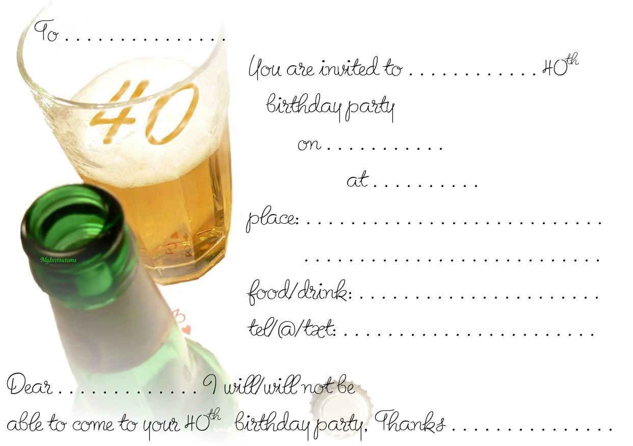 40th Birthday Party Invitations Free