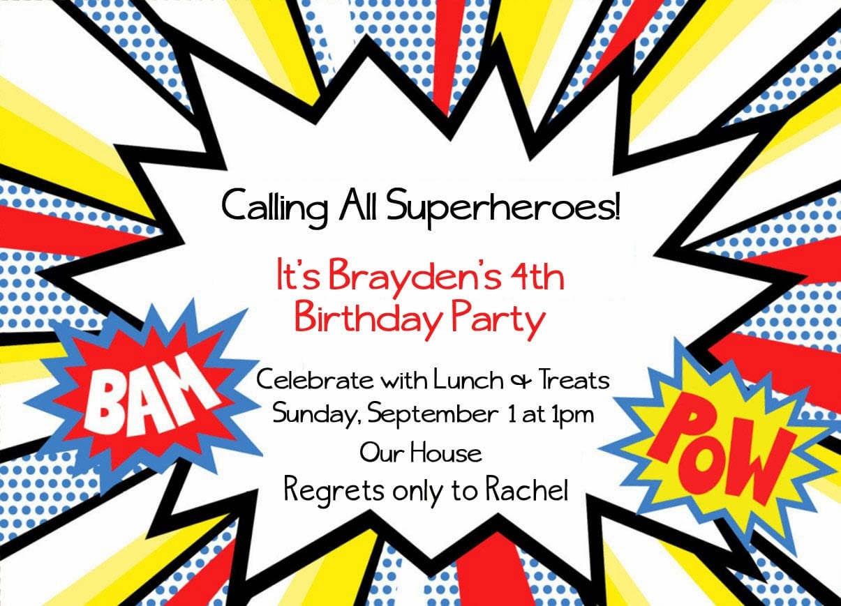Free Superhero Party Invitations Template Cool