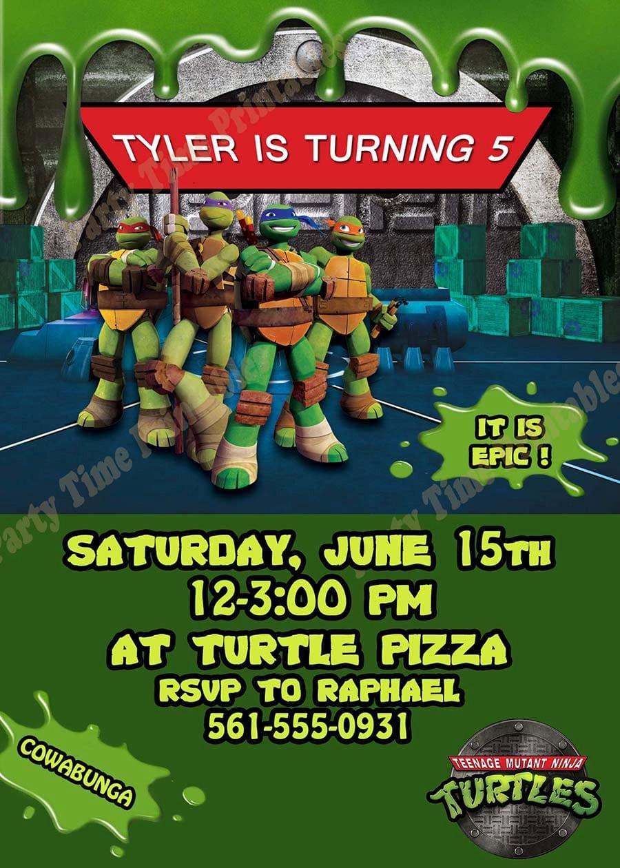 Funny Teenage Mutant Ninja Turtles Birthday Invitations Templates