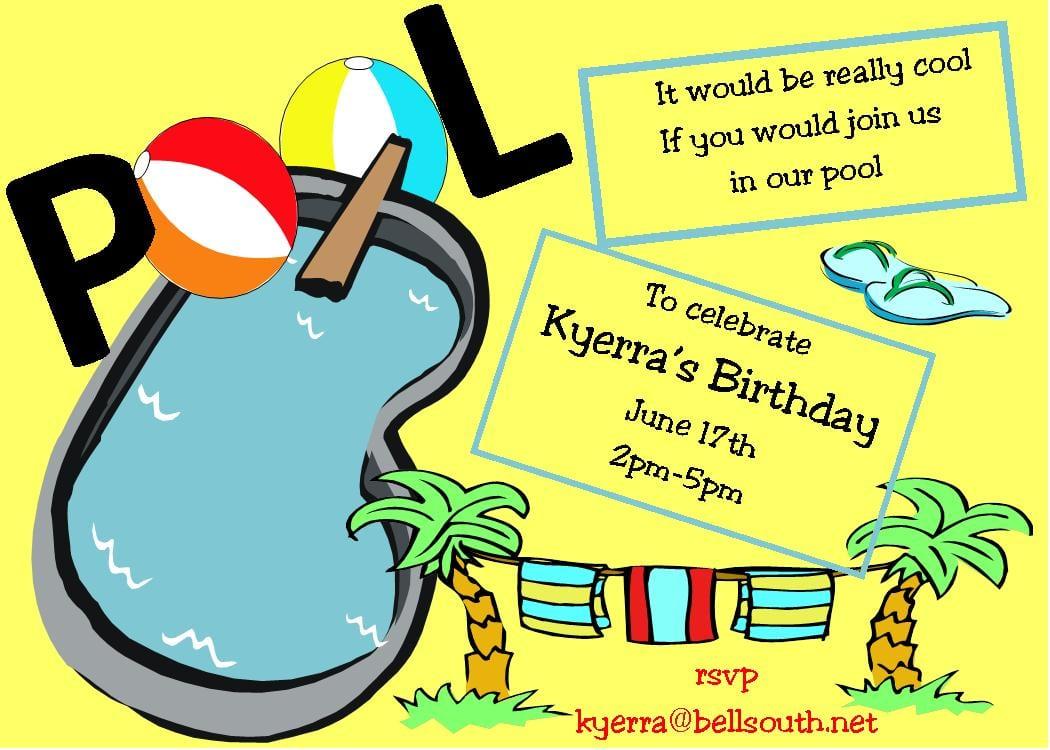 Funny Yellow Pool Teen Summer Party Invitation  Invitations