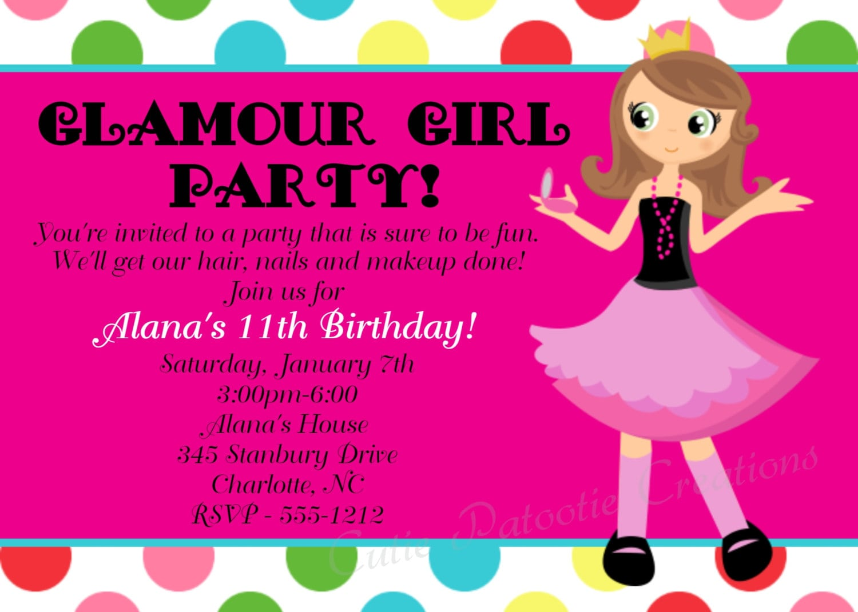 Girl Birthday Party Invitations Girl Birthday Party Invitations