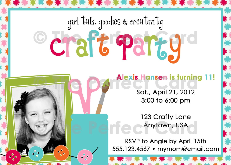 Girl Talk Craft Party Birthday Invitation  $16 00, Via Etsy