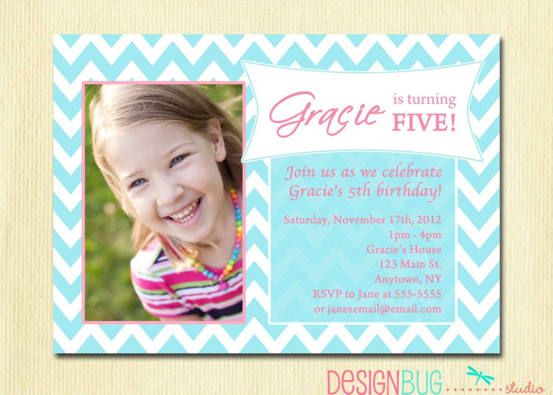 Girls Birthday Party Photo Invitation Printable Chevron