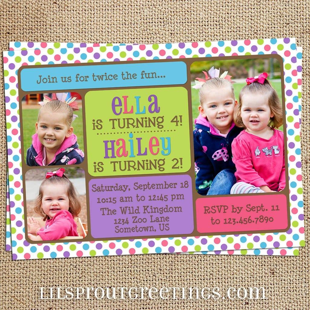 Girls Joint Twin Photo Birthday Invitation (you Print)  $18 00