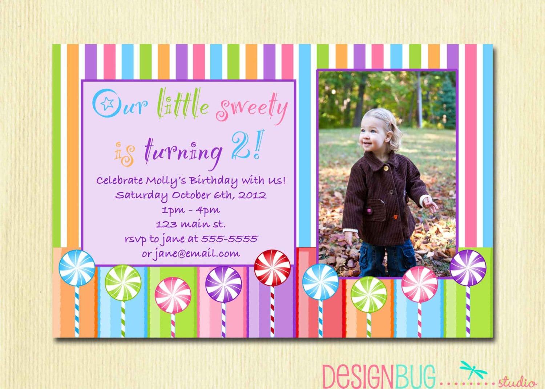 Girls Lollipop Birthday Party Invitation Diy Printable Candy