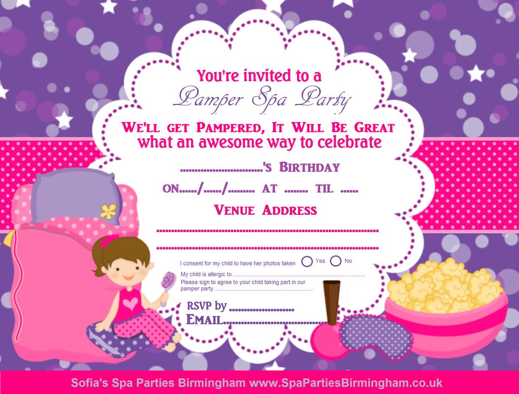 Girls Party Invites