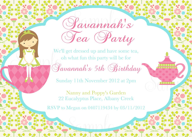 Girls Tea Party Invitations