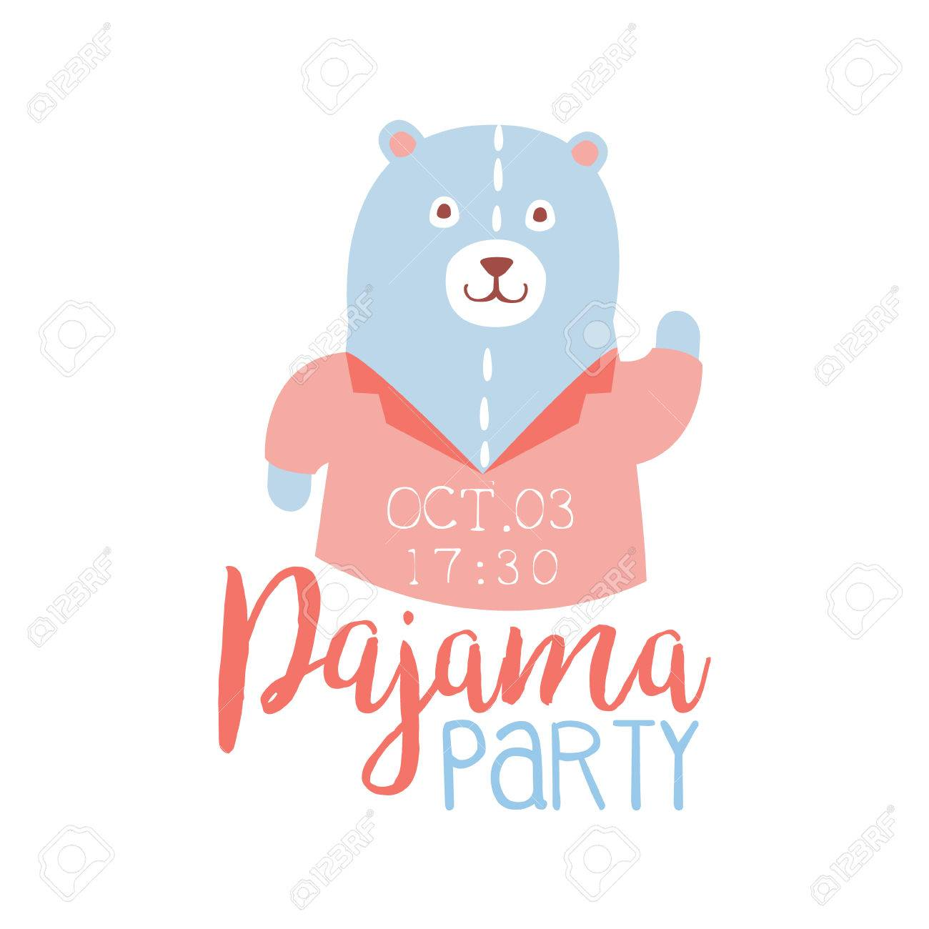 Girly Pajama Party Invitation Card Template With Teddy Bear