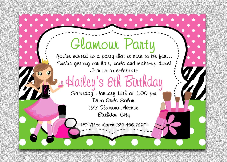 Glamour Girl Birthday Spa Invitation Glamour Girl Birthday
