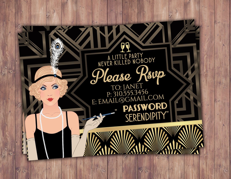 Great Gatsby Birthday Invitation, Rsvp Card, Roaring 20's