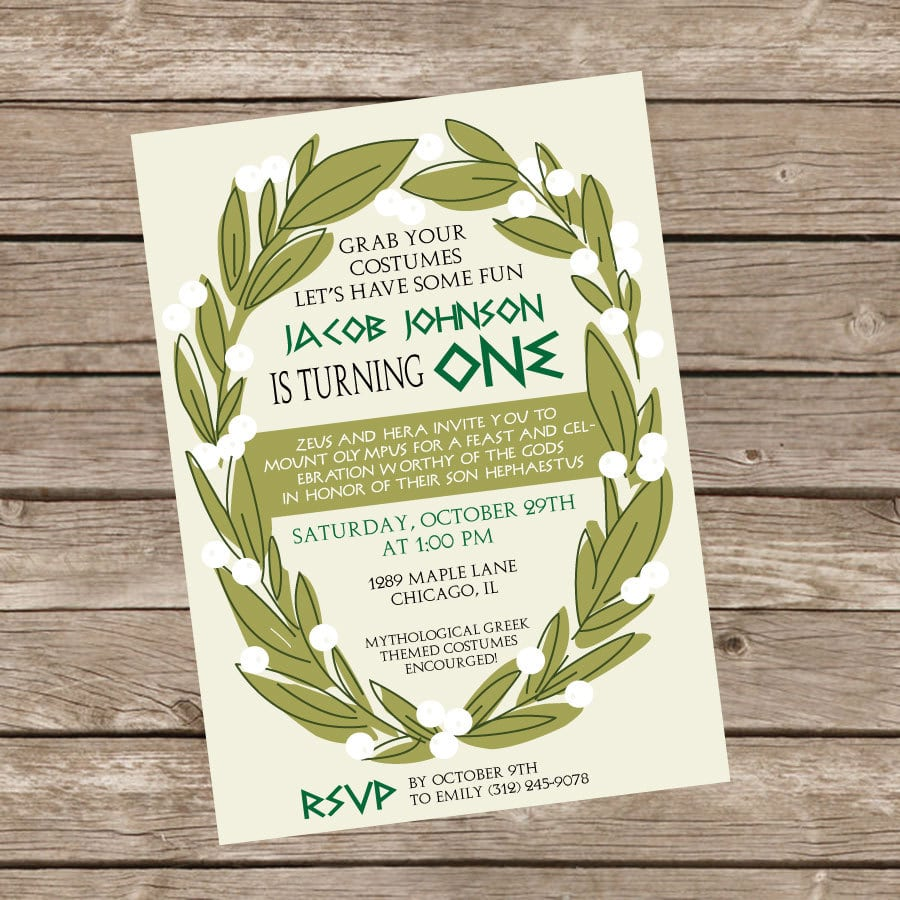 Greek Themed Birthday Party Invite By Trishatreedesigns On Etsy