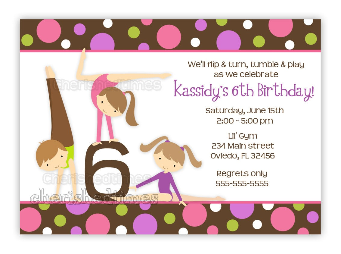 Gymnastics Girl Birthday Party Invitation With Picture Or