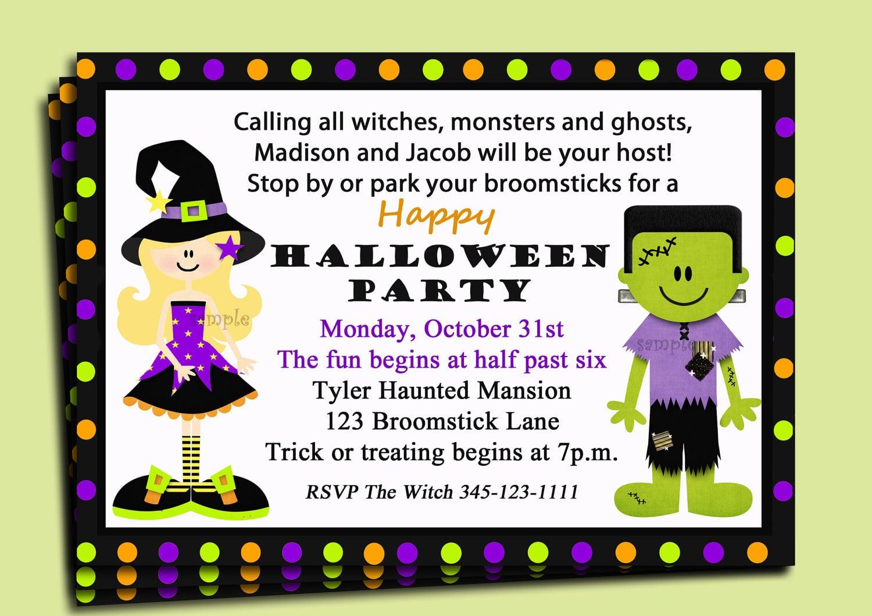 Halloween Party Invitation Printable Siblings You Pick