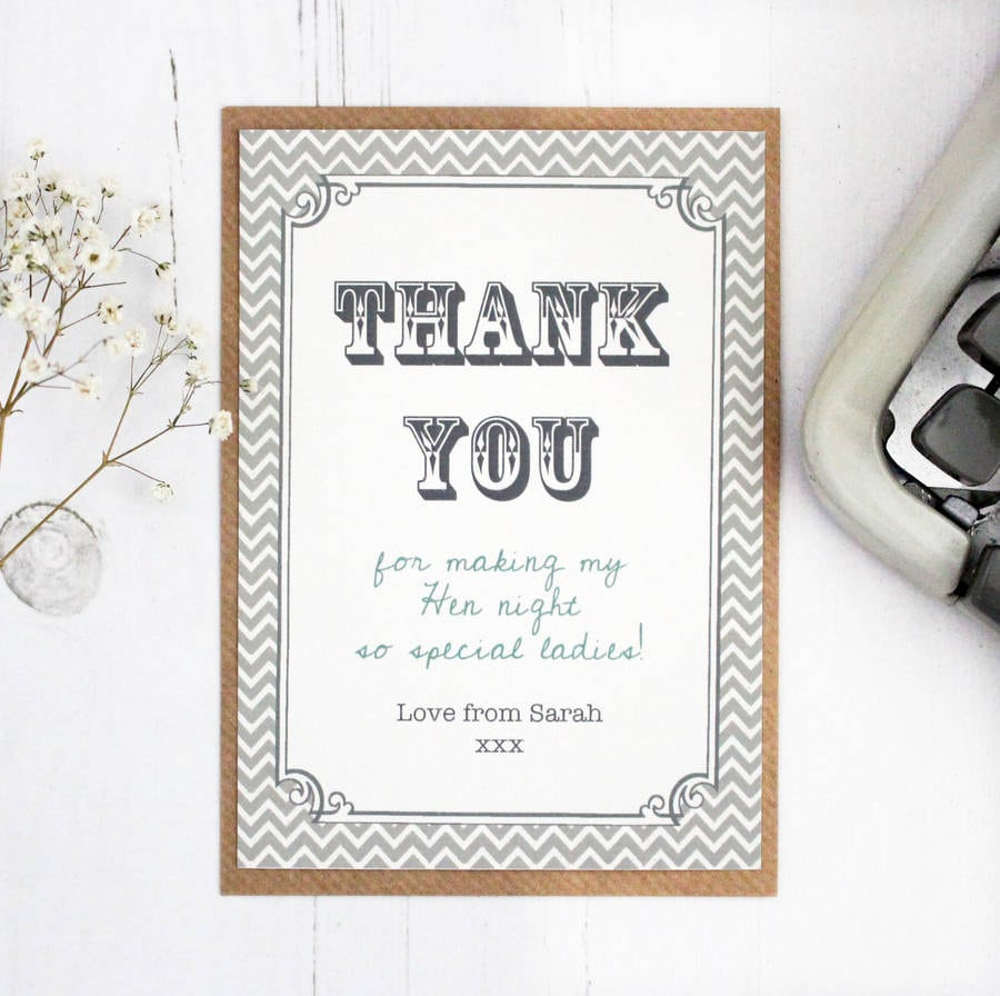 Hen Party And Wedding 'thank You' Card By Precious Little Plum