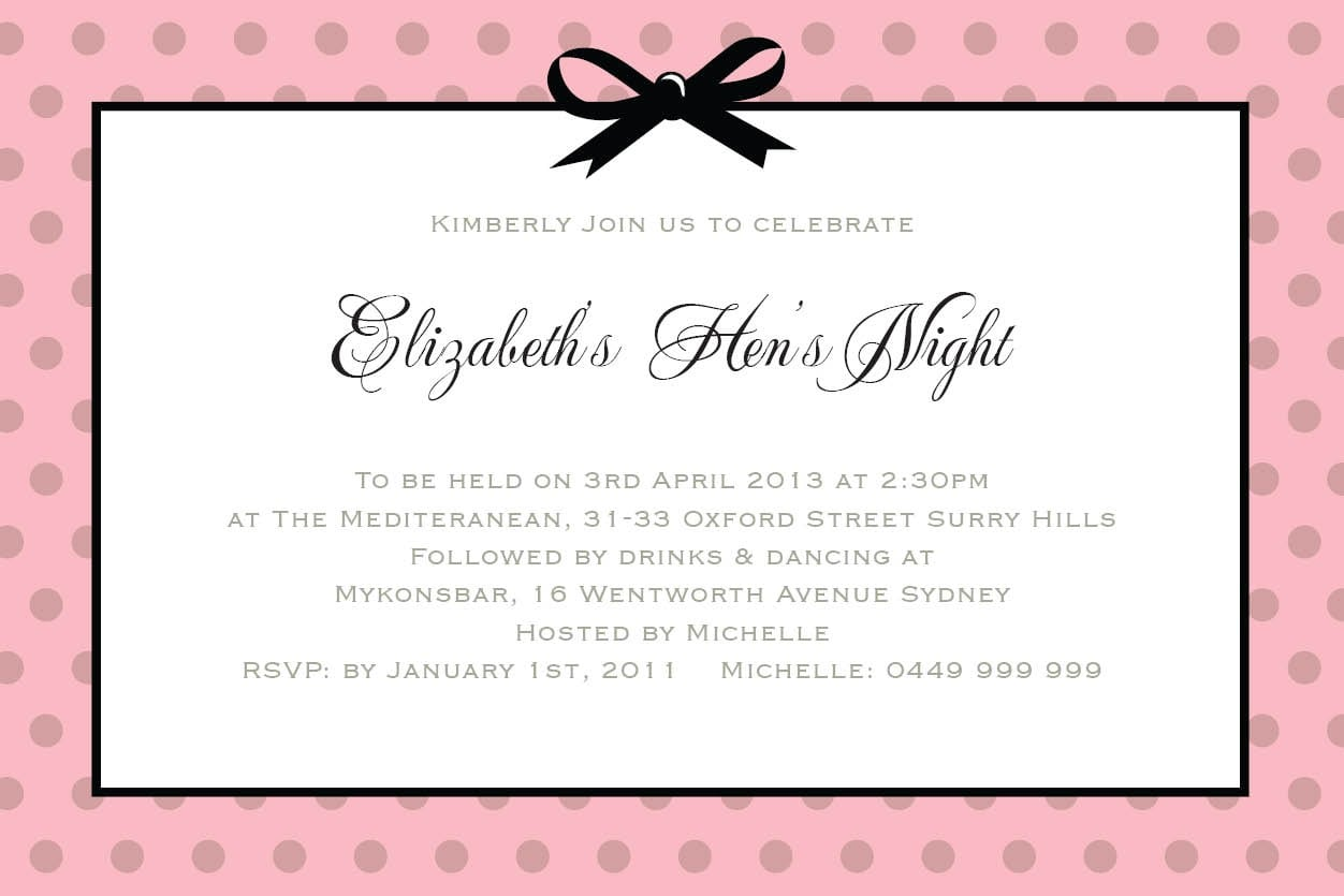 Hen Party Invitation Wording - Mickey Mouse Invitations Templates