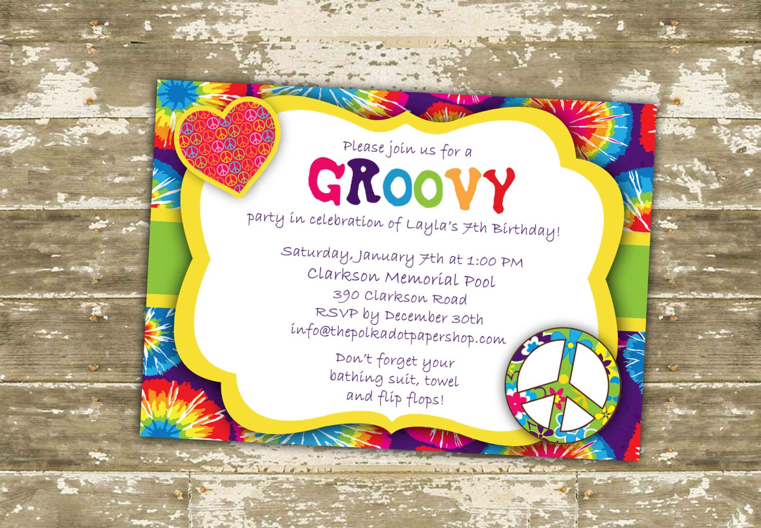 Hippie Invitation   Invite   Hippie Birthday Party   Groovy