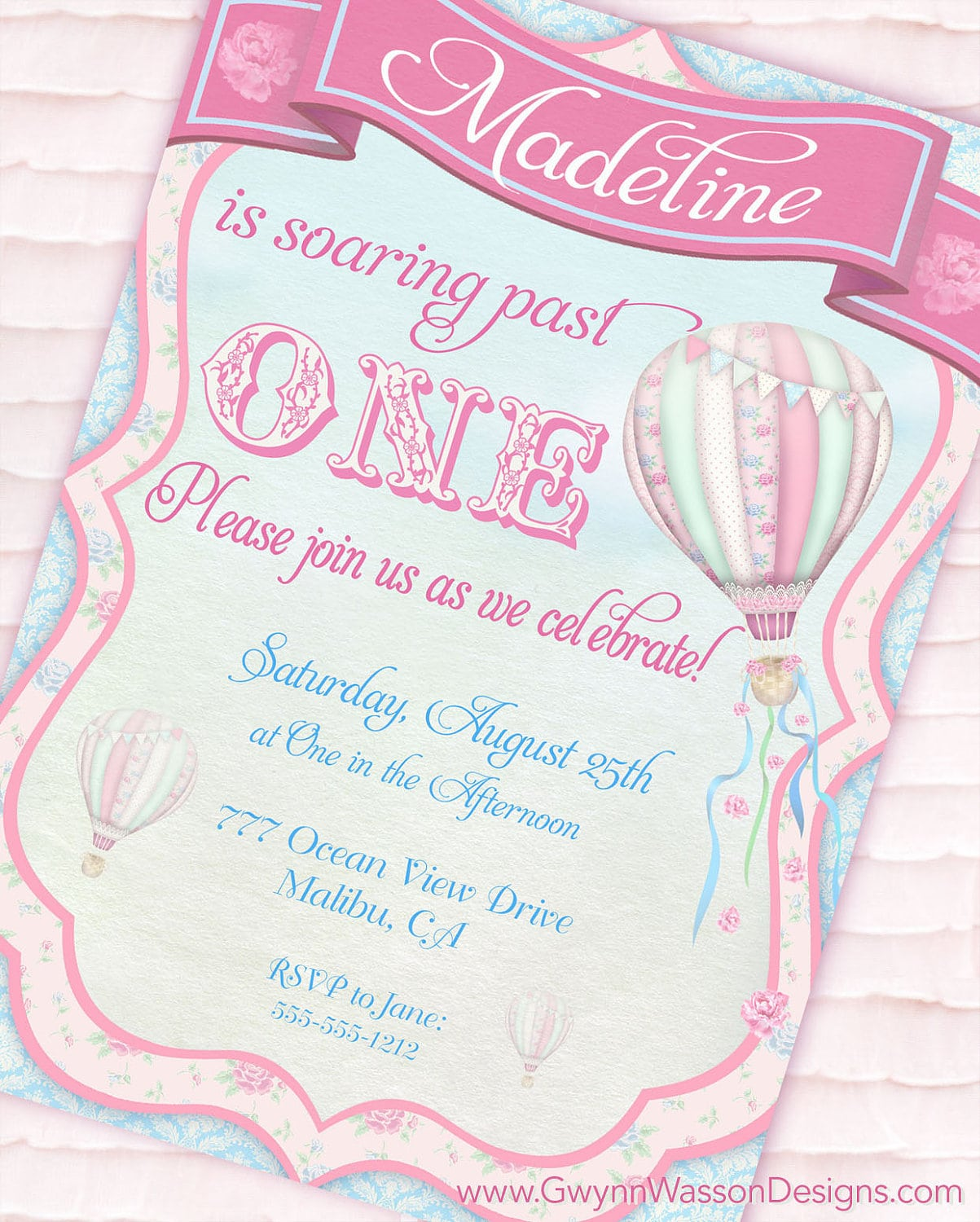 Hot Air Balloon Party Invitation Up Up And Away Shabby Chic