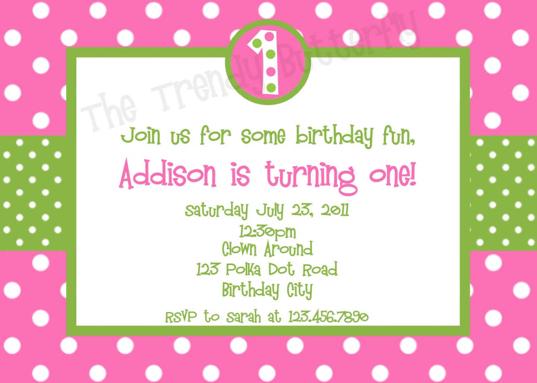 Hot Pink Polka Dot Birthday Invitation Pink And Green Birthday