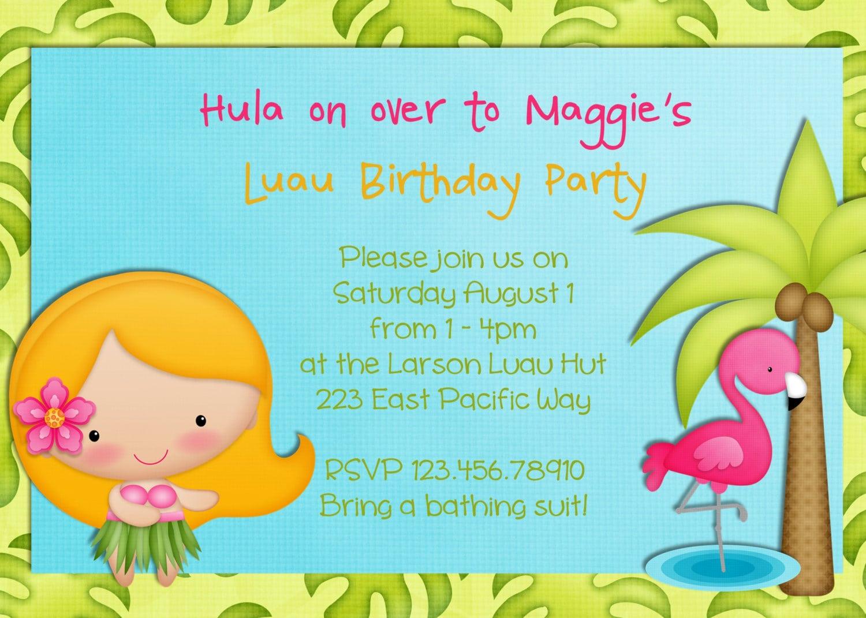 Hula Girl Birthday Party Invitation Luau Tropical By 3peasprints