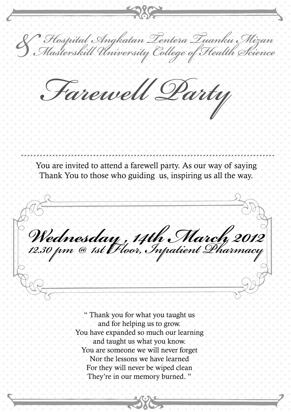 Invitation Cards For Farewell Party