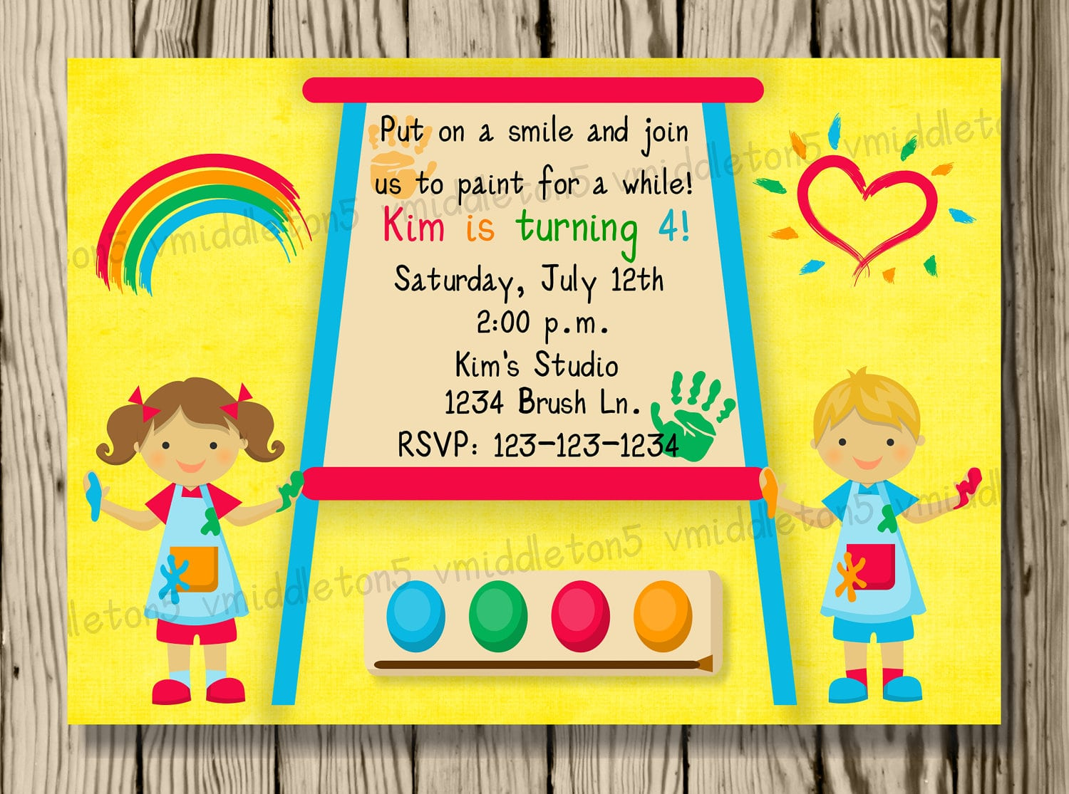 Kids Painting Or Art Party Invitation Print Your Own 5x7 Or