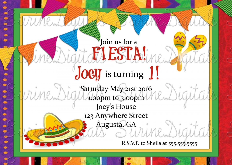 Let's Fiesta Invitation  Spanish Themed Birthday Party Invitation