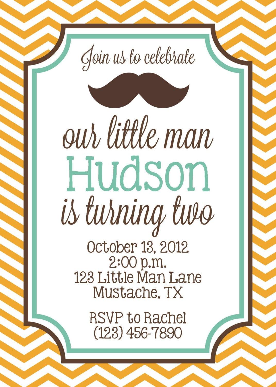 Little Man Mustache Bash Invitation