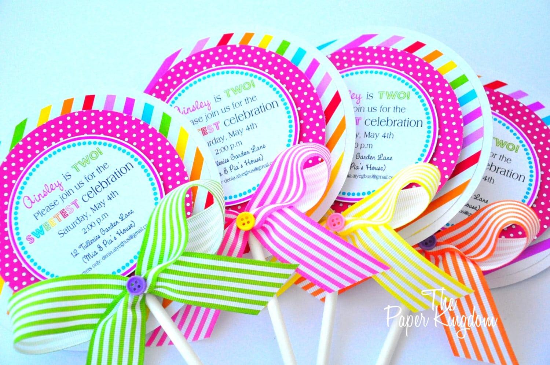 Lollipop Invitations Candyland Lollipop Invitations
