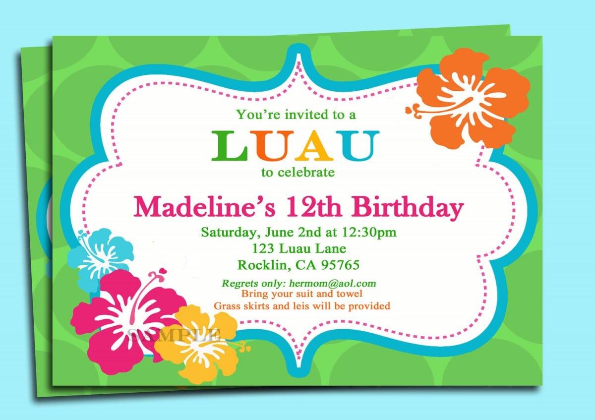 Luau Birthday Invitation Wording Ideas