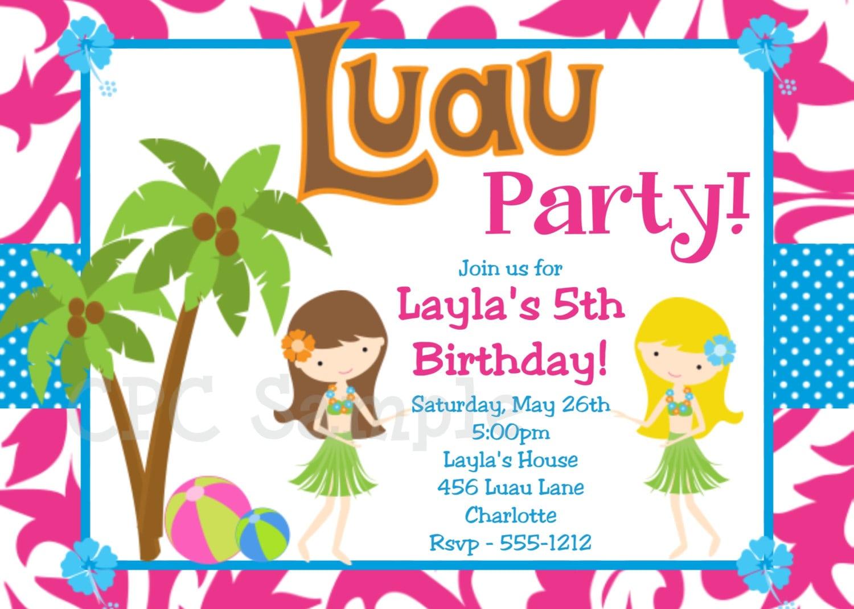 Luau Birthday Invitations Templates