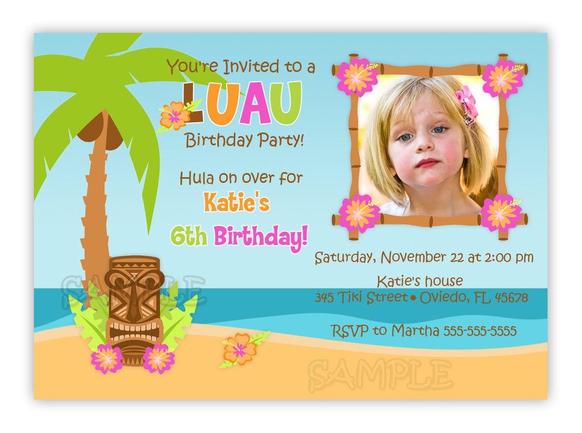 Luau Hula Birthday Party Photo Card Invitation You Print