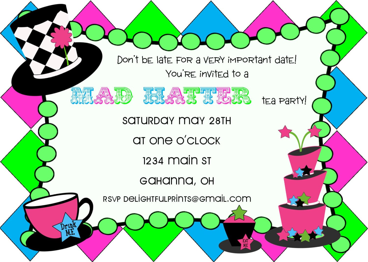 Mad Hatter Tea Party Invitation Template Free - Mickey Mouse ...
