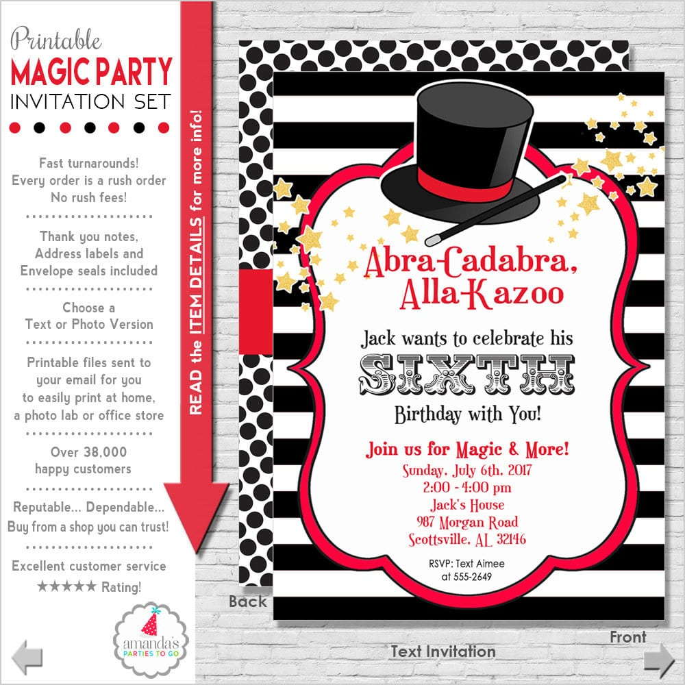 Magic Show Party Invitations