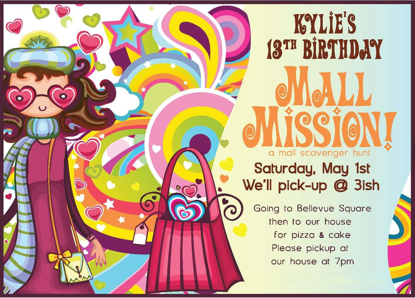 Mall Scavenger Hunt Birthday Party Invitations