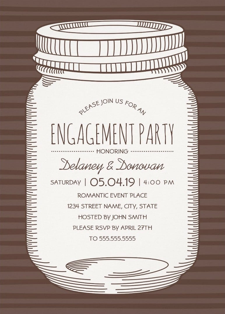 Mason Jar Engagement Party Invitations – Unique Rustic Country Cards