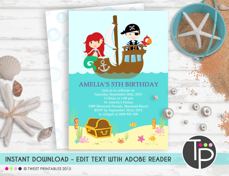 Mermaid Pirate Invitation Instant Download Mermaid