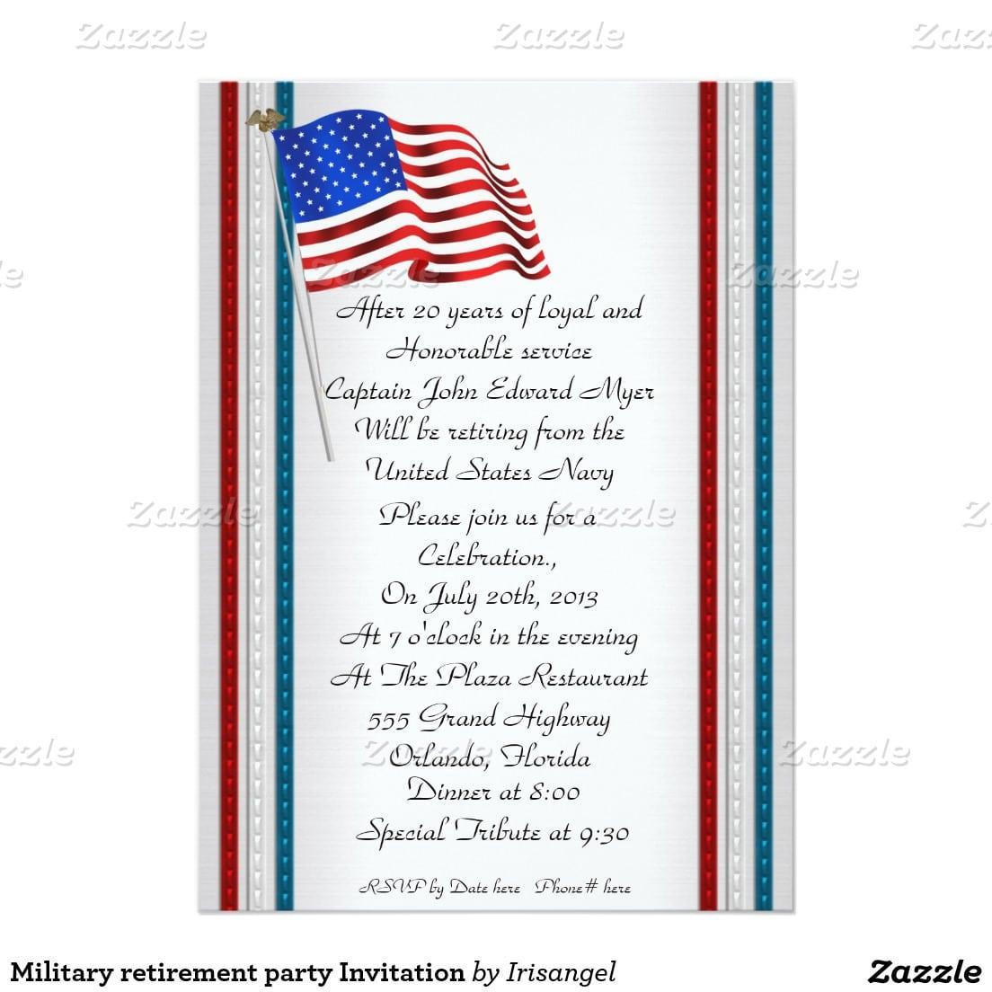 Military Retirement Party Invitation 5  X 7  Invitation Card