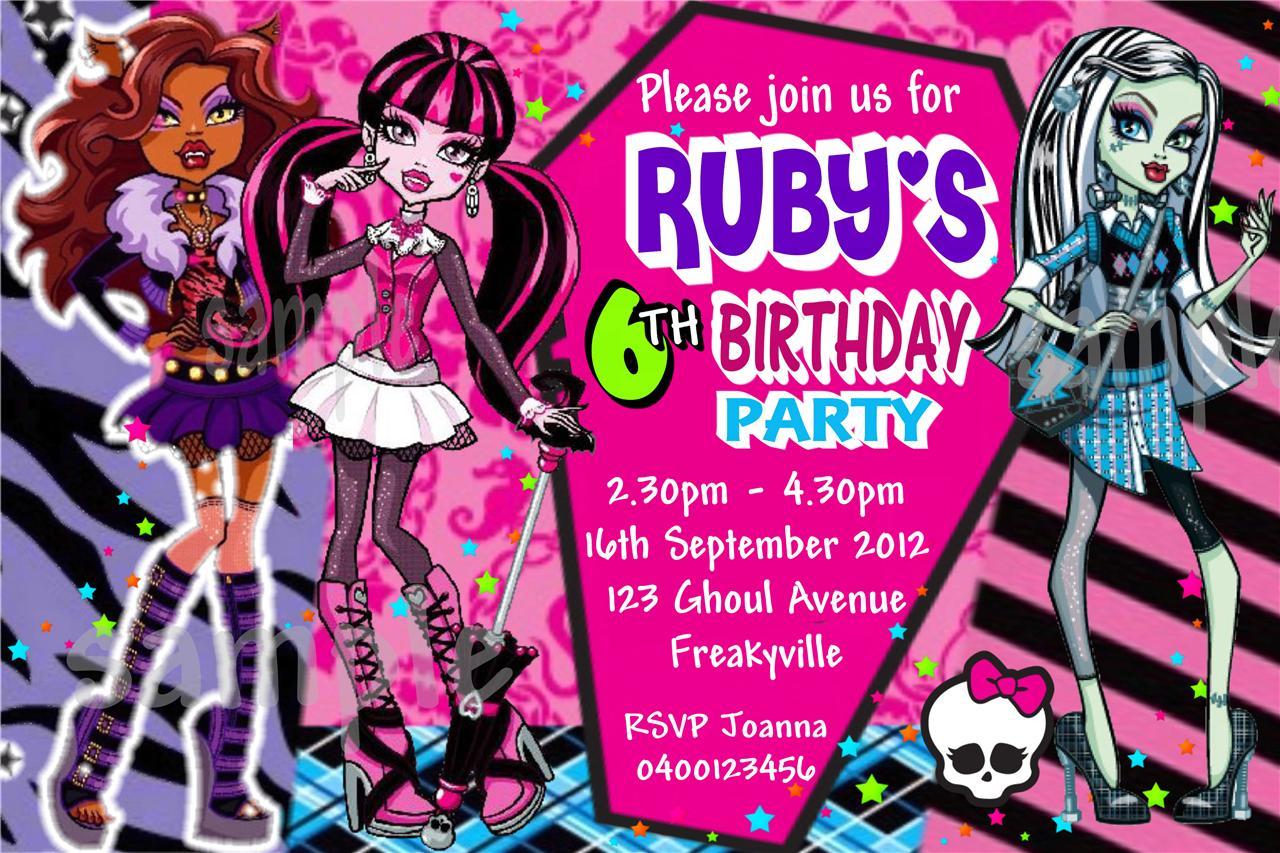Monster High Invitations Templates