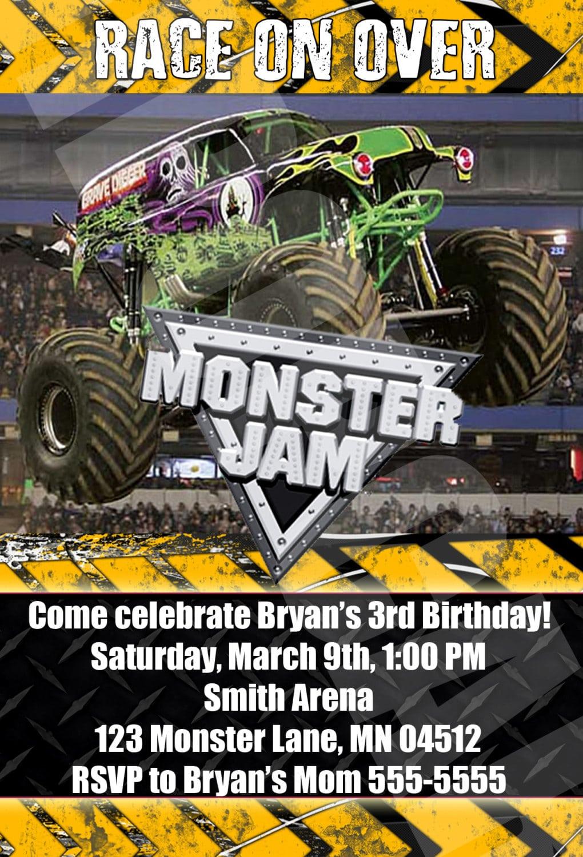 Monster Jam Party Invitations