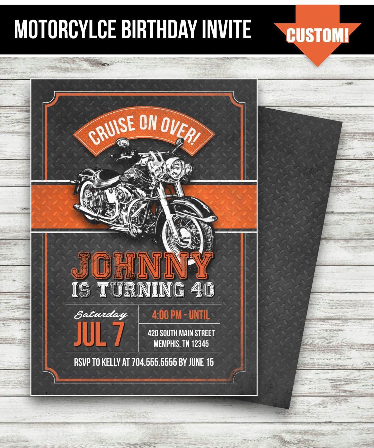 Motorcycle Biker Birthday Invitation Vintage Motorcycle