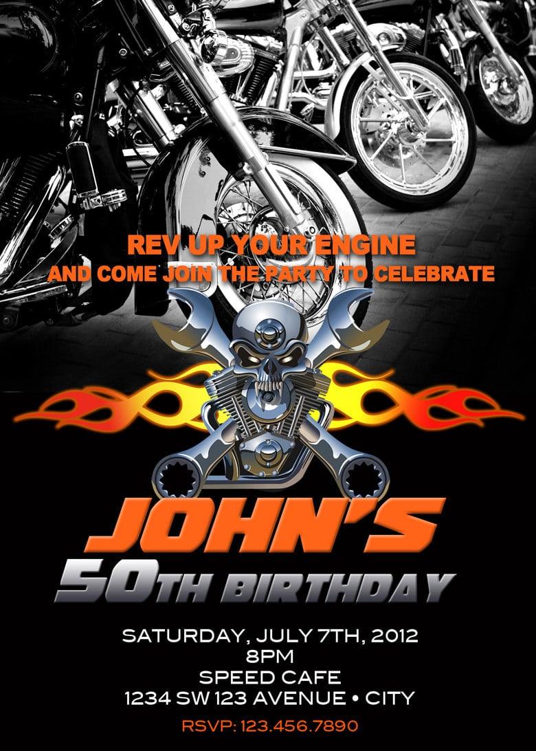Motorcycle Invitation Printable File Diy Bike Birthday