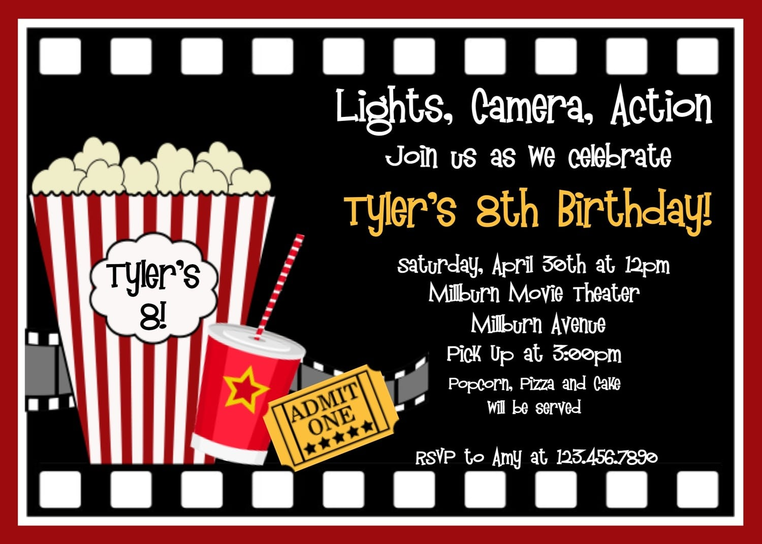 Movie Birthday Party Invitation Template Free Different