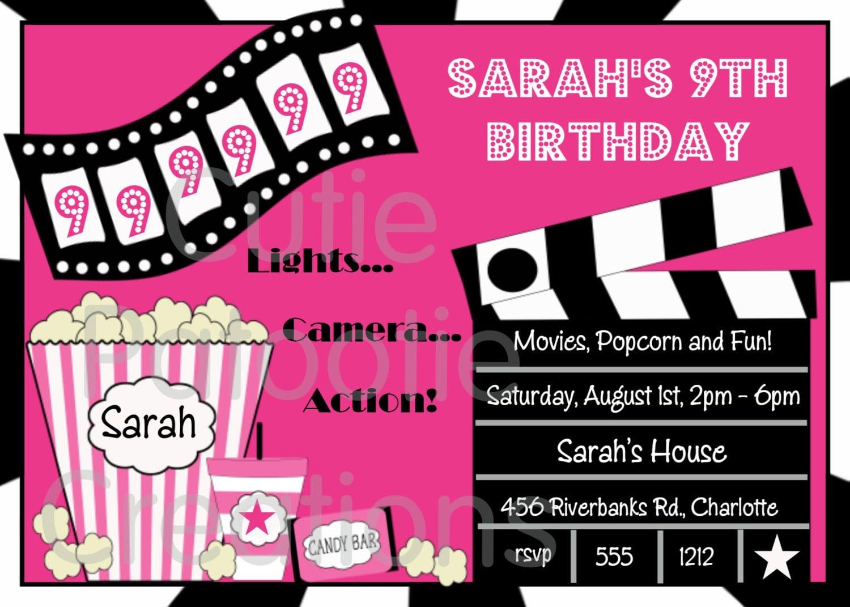 Movie Birthday Party Invitations Movie Birthday Party Invitations