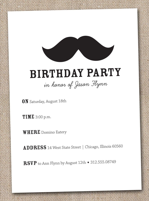Mustache Party Invitations Mustache Party Invitations For